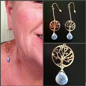 🌟NEW🌟 Delicate Blue Agate Tree of Life Earrings
